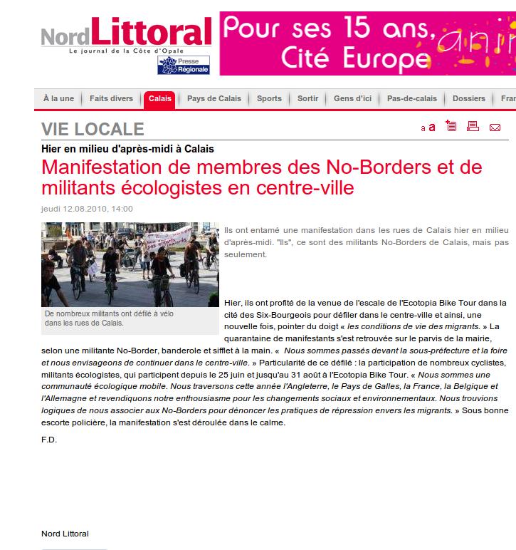 Manifestation de membres des No-Borders et de militants écologistes en centre-ville